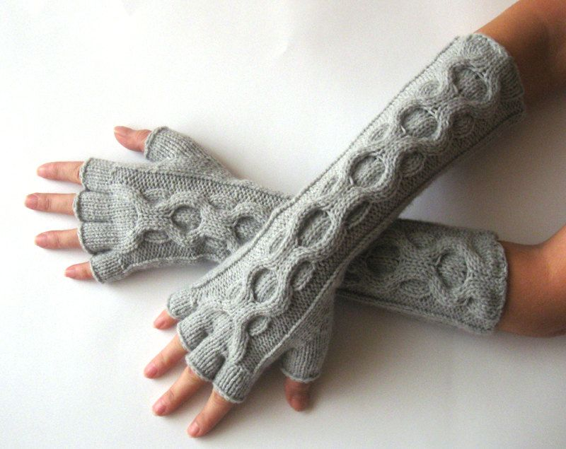 Knit Gloves Pattern Inverted Cable Fingerless Gloves Half Fingers Mittens Pattern Arm Warmers Hand Warmers - P0026 - PDF Knit pattern