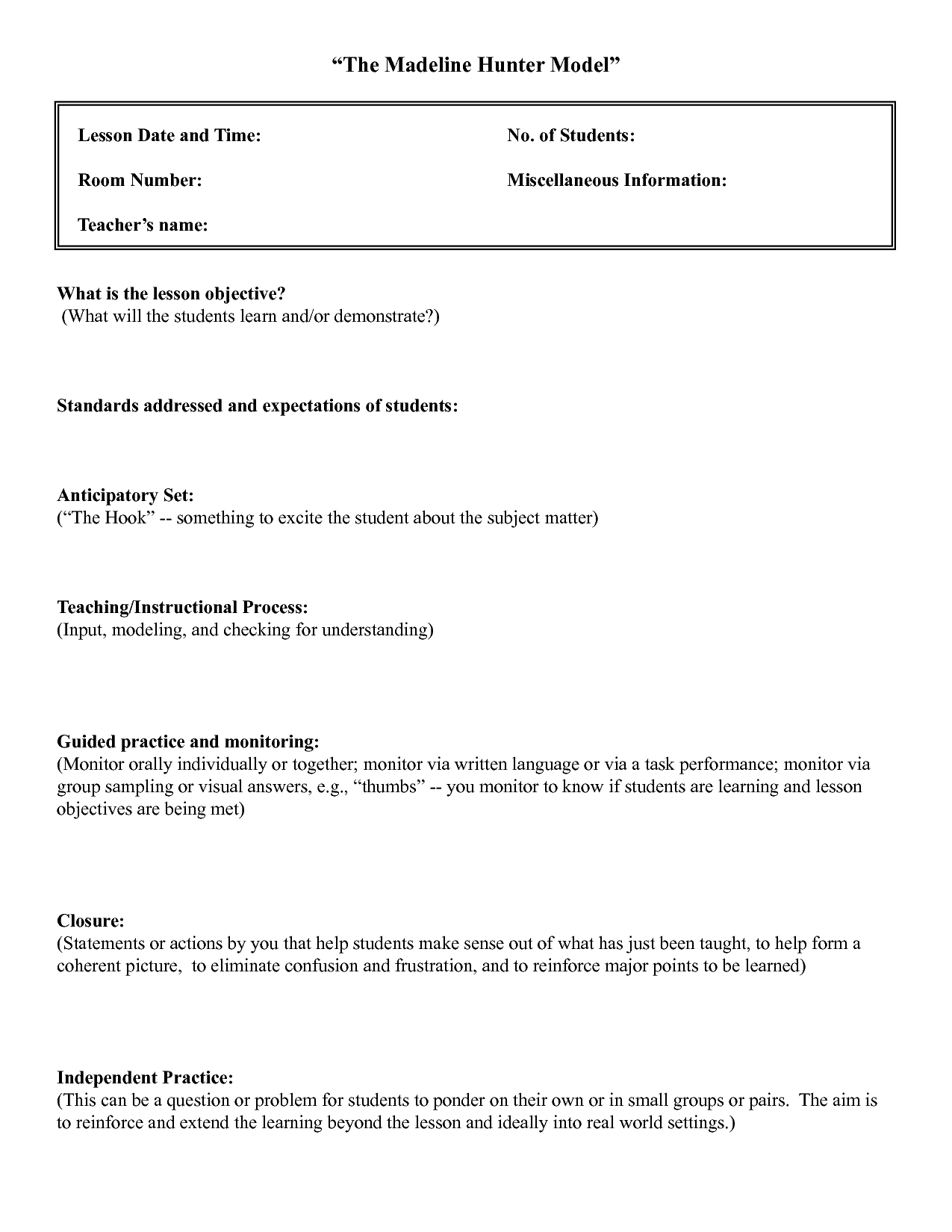 Madeline Hunter Lesson Plan Template Madeline Hunter Lesson Plan - Best lesson plan template