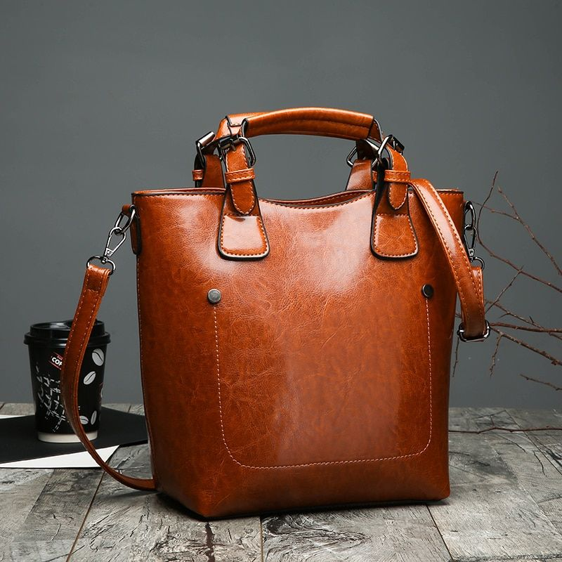 87346fc314 Hot Sale Women Casual Handbags High Quality Oil Wax Leather Female Shoulder  Bag Designer Ladies Vintage Crossbody Bags Big Tote Review