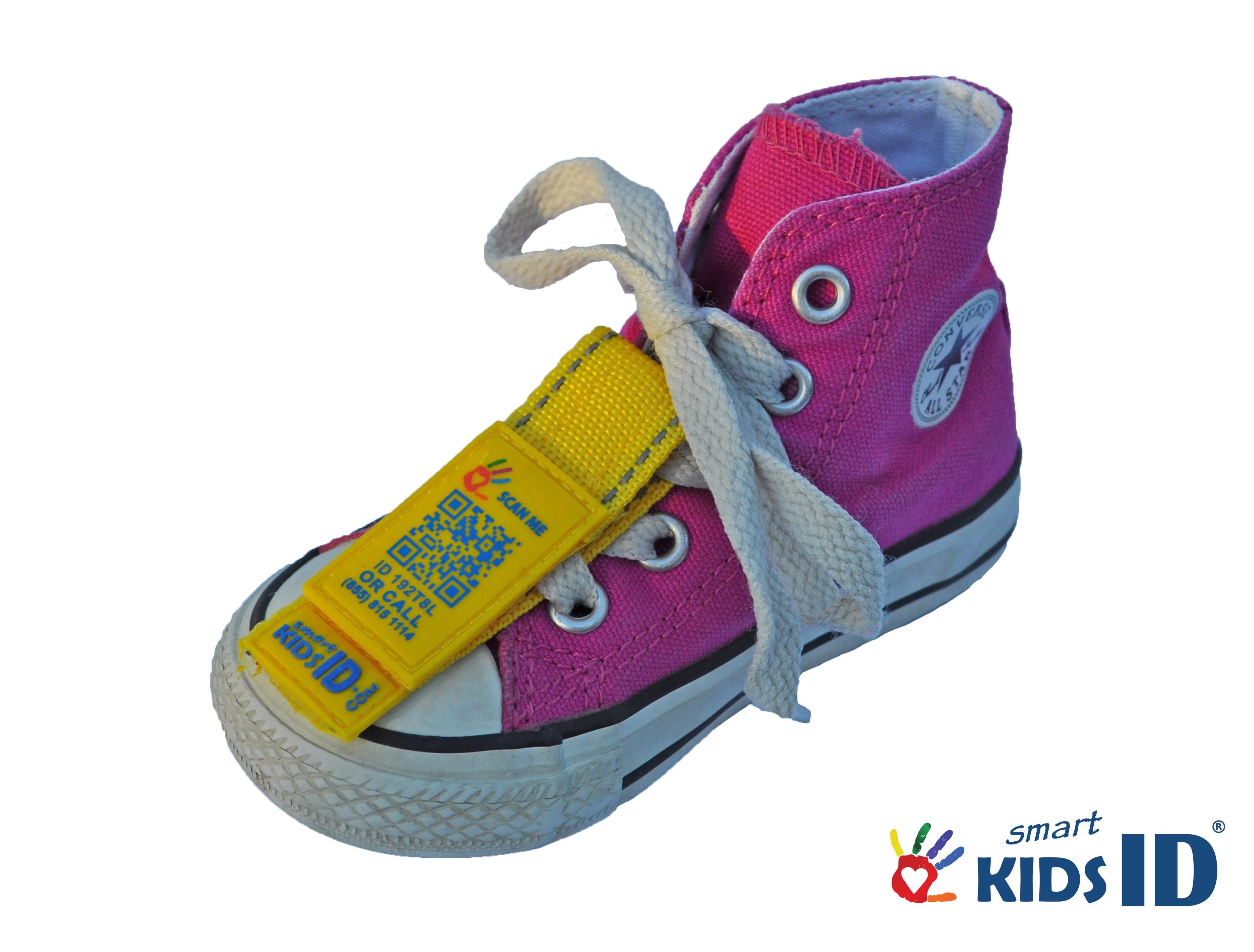 SmartKidsID Shoe ID Tag Yellow Keep your kids safe on the go