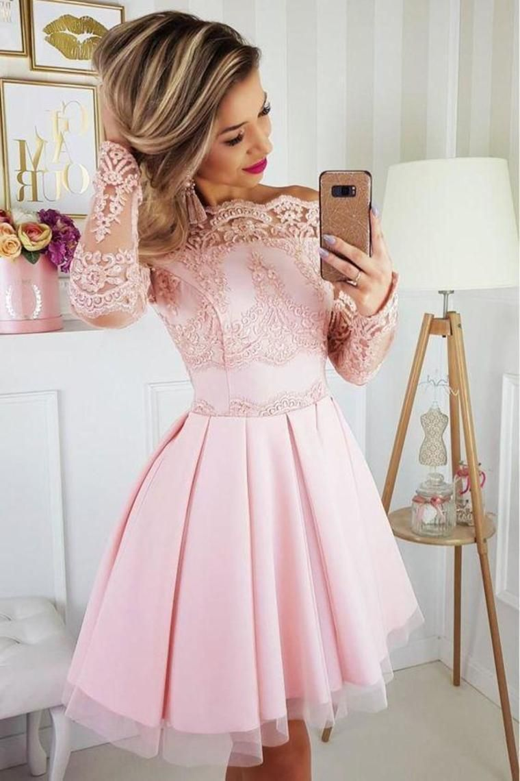 Off the shoulder long sleeves short dress with