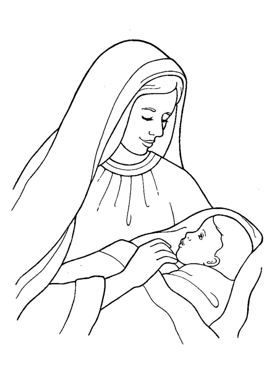 Mary holding jesus black and white clipart christ child drawing clip