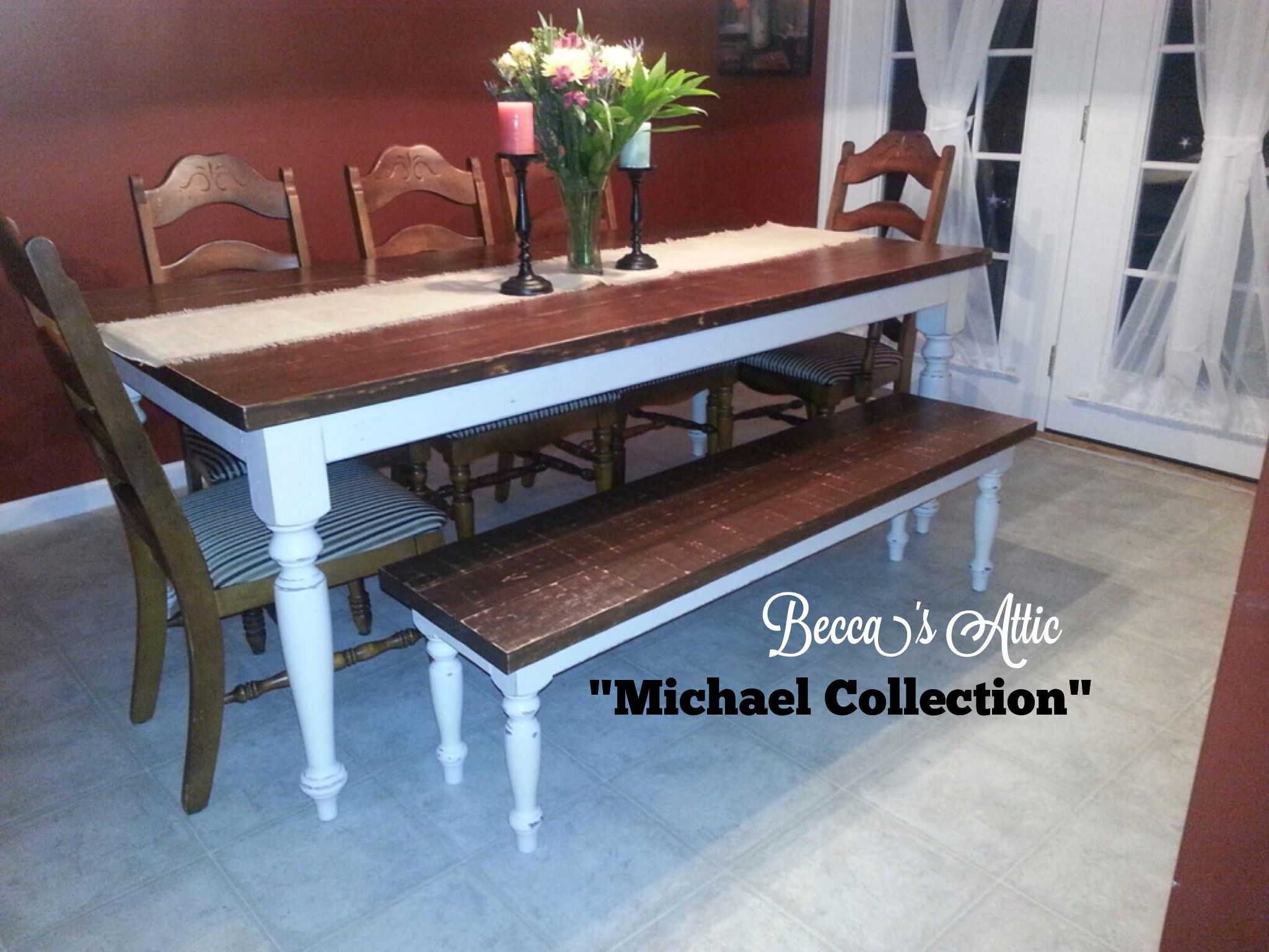 550... farmhouse table and bench. antique white base with ...
