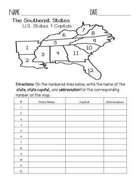 Photo of Southeast Region States and Capitals Quiz Pack