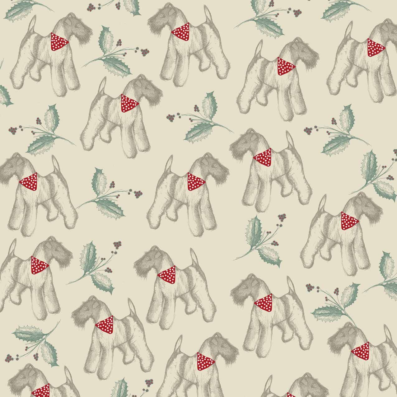 Wire hair fox terrier, Christmas, pattern, design. www.emma ...