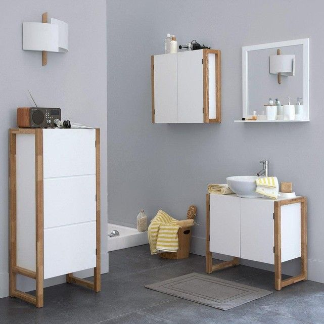 Meuble de salle de bain sous-lavabo, Compo Du bois - lavabo retro salle de bain