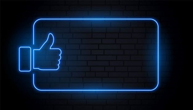Download Like Thumb In Blue Neon Style With Text Space For Free Neon Wallpaper Neon Fashion Dark Background Wallpaper