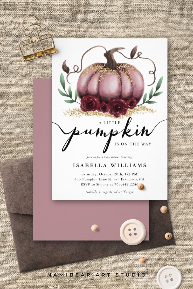 Little Pumpkin Rustic Pink Gold Baby Shower Invitation | Zazzle.com