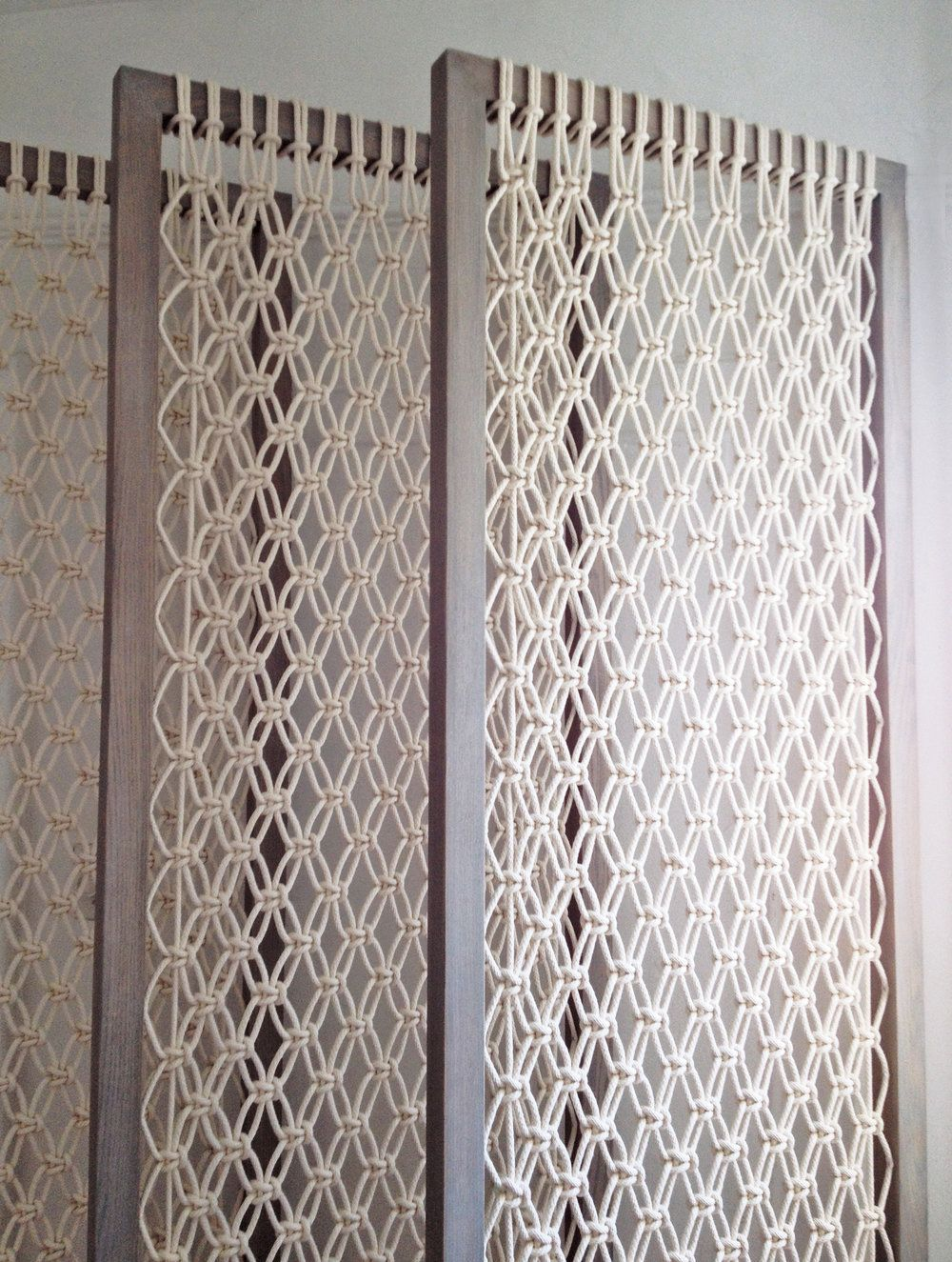 MACRAME ROOM DIVIDER  — MACRO MACRAMÉ is part of Macrame - FOR CUSTOM SIZE PRICING AND ORDERS PLEASE USE THE CONTACT FORMCREATE  BREEZY SEPARATION WITH THESE DELICATE AND BRIGHT MODERN MACRAME  SCREENS THIS LISTING IS FOR A SET OF 3 SCREENS  DETAILS      MATERIALS THIN COTTON CORD, OAK FRAMES      DIMENSIONS EACH FRAME  30  WIDE, 80  HIGH