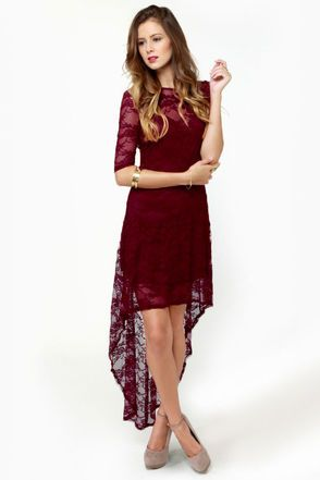 Wish You Were Sheer Burgundy High-Low Lace Dress  24024c9fe