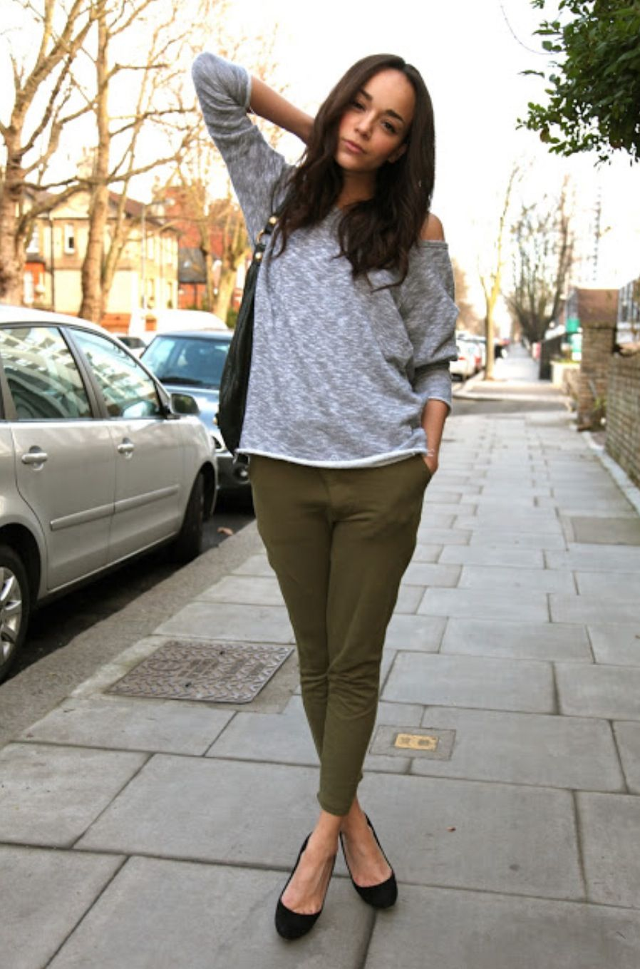 76d0344fdf Grey sweater and khaki pants. | Closet | Fashion, Style, Ashley madekwe