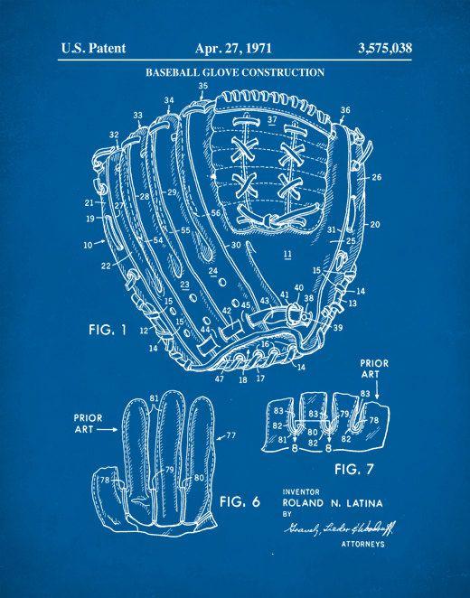 Baseball Glove Patent Prints Baseball Gifts Baseball Patent