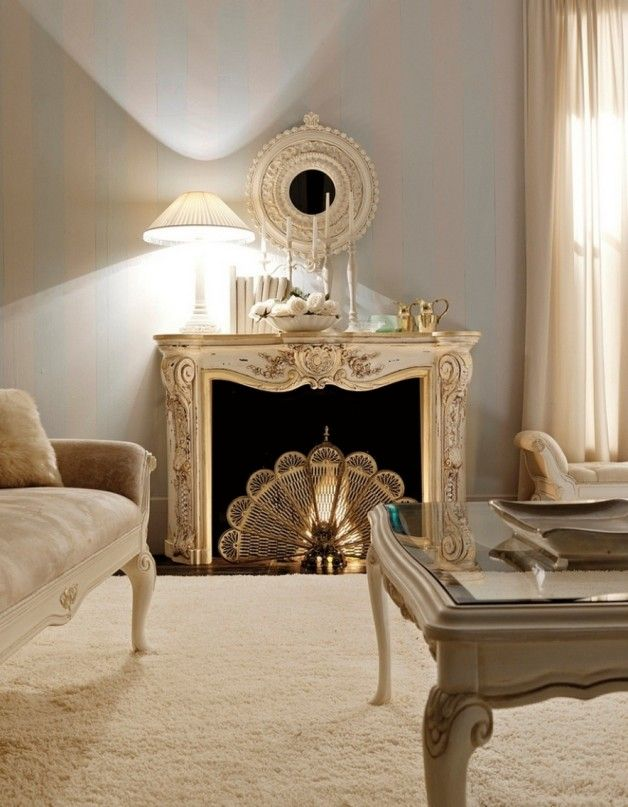 Luxury Classic Italian Fireplaces Design With Vintage Sofa And