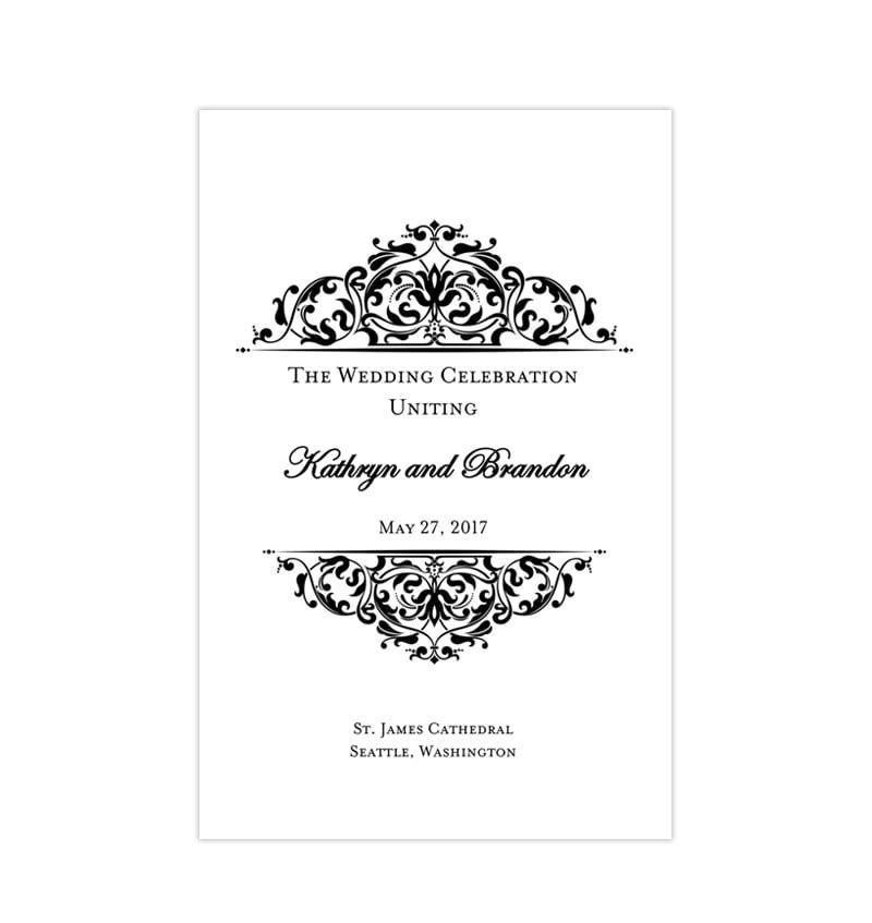 Wedding Venues Near Me Cheap: Wedding Program Template Grace Black White