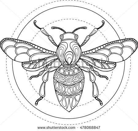 Doodle Vector Hand Drawn Bee Illustration Ornate Decorative Bee
