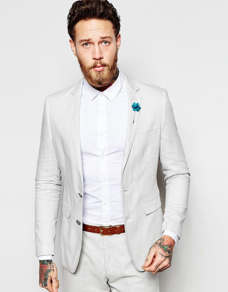 Image 1 of Feraud Premium 55% Linen Suit Jacket in Pale Steel Grey ...