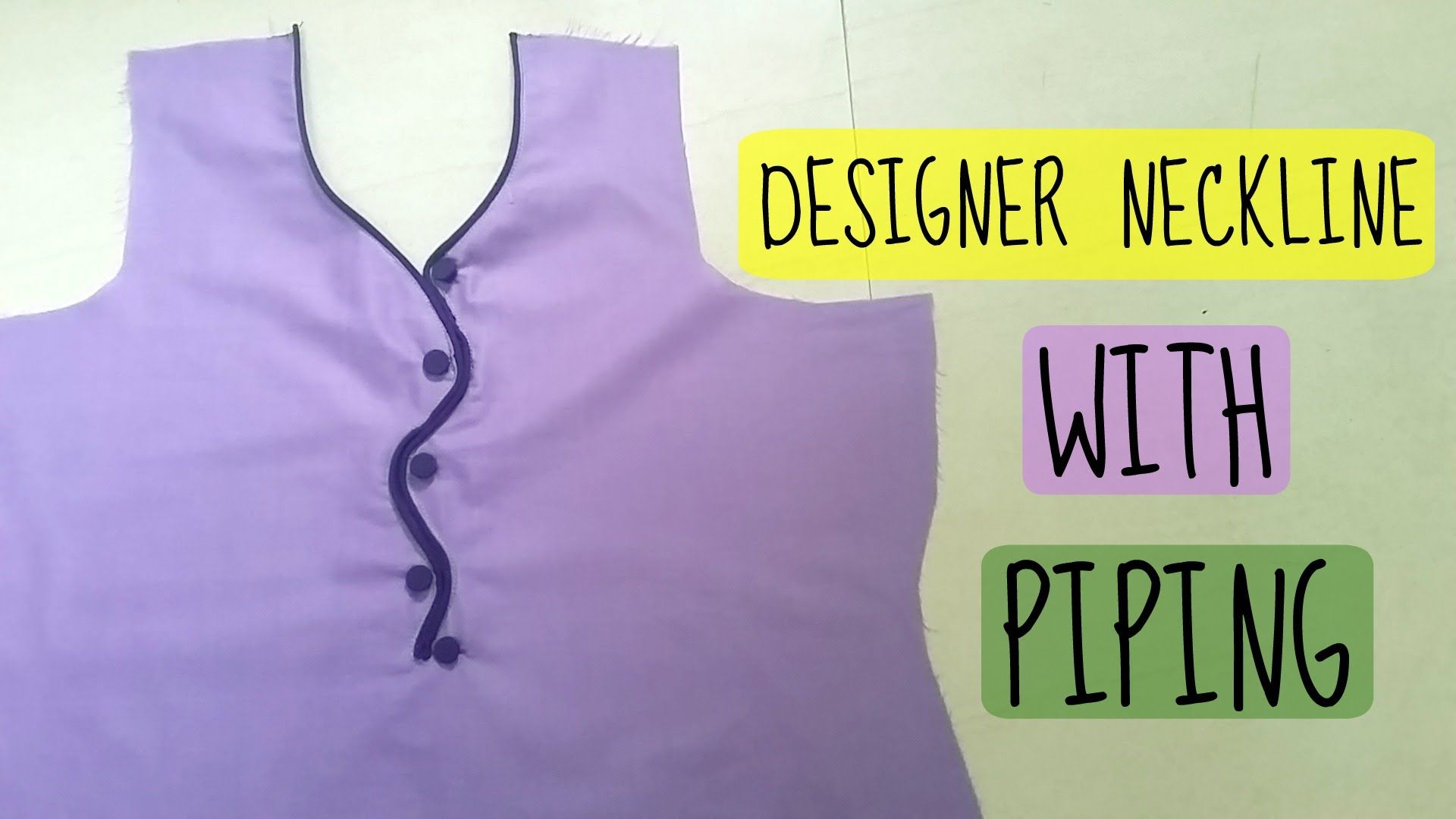 Designer neckline with piping and buttons | Anjalee sharma