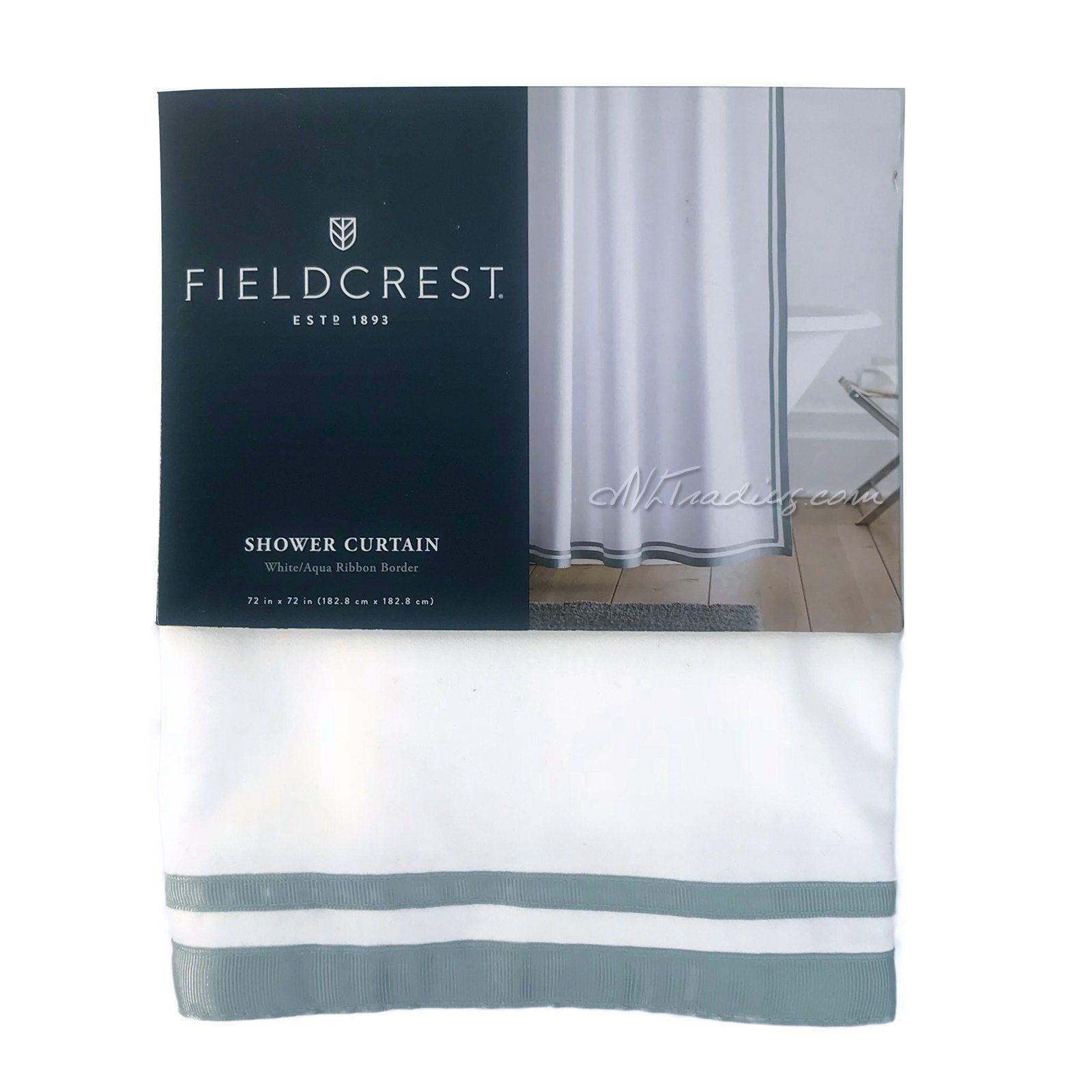 White Aqua Ribbon Border Shower Curtain