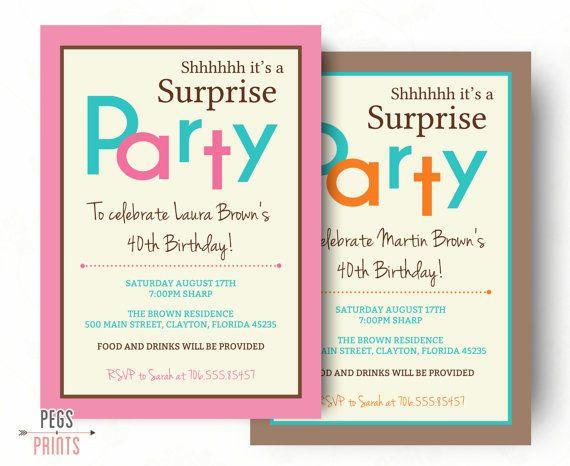 Surprise Birthday Invitation Printable Party Invitations Invita