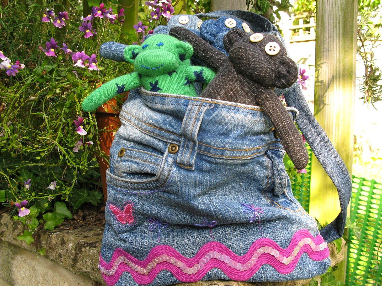 The Violet Pincushion: I've made a Denim Sock Monkey! #upcycle #denimjeans #sockmonkey