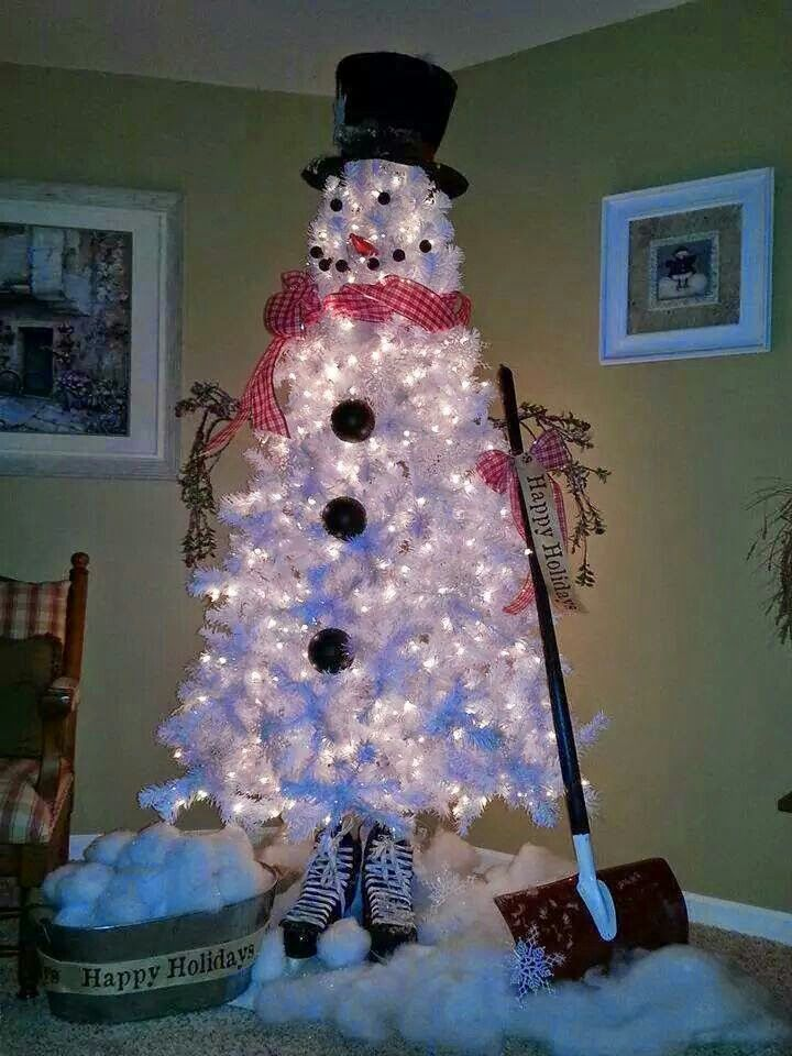 Snowman Merry Christmas Pinterest Snowman, Christmas tree and - white christmas tree decorations
