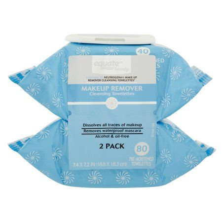 Equate Pre,Moistened Makeup Remover Cleansing Towelettes , 2