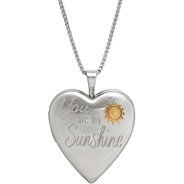 98558d628d36d0 Sterling Silver You Are My Sunshine Heart Locket Pendant Necklace (86 AUD)  ❤ liked