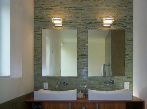 Tile Accent Wall Behind Mirrors Green Bathroom Bathroom Design Modern Bathroom