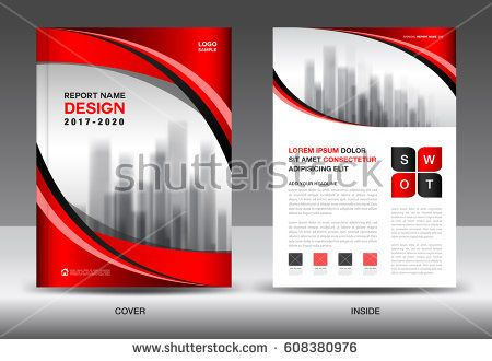 Brochure template layout, Red cover design, annual report - advertisement brochure