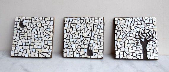 minimal black white art 3 glass mosaics The by LaTenagliaImpazzita, €120.00