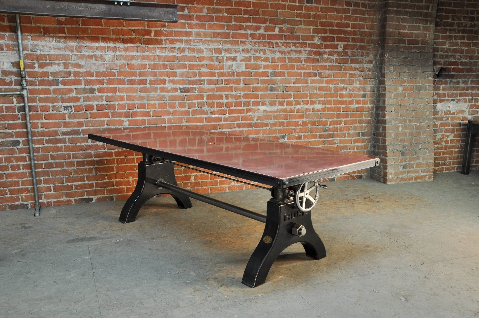 Hure crank table vintage industrial furniture - Copper Top Hure Crank Table Model Hu47 Vintage Industrial Furnitureindustrial