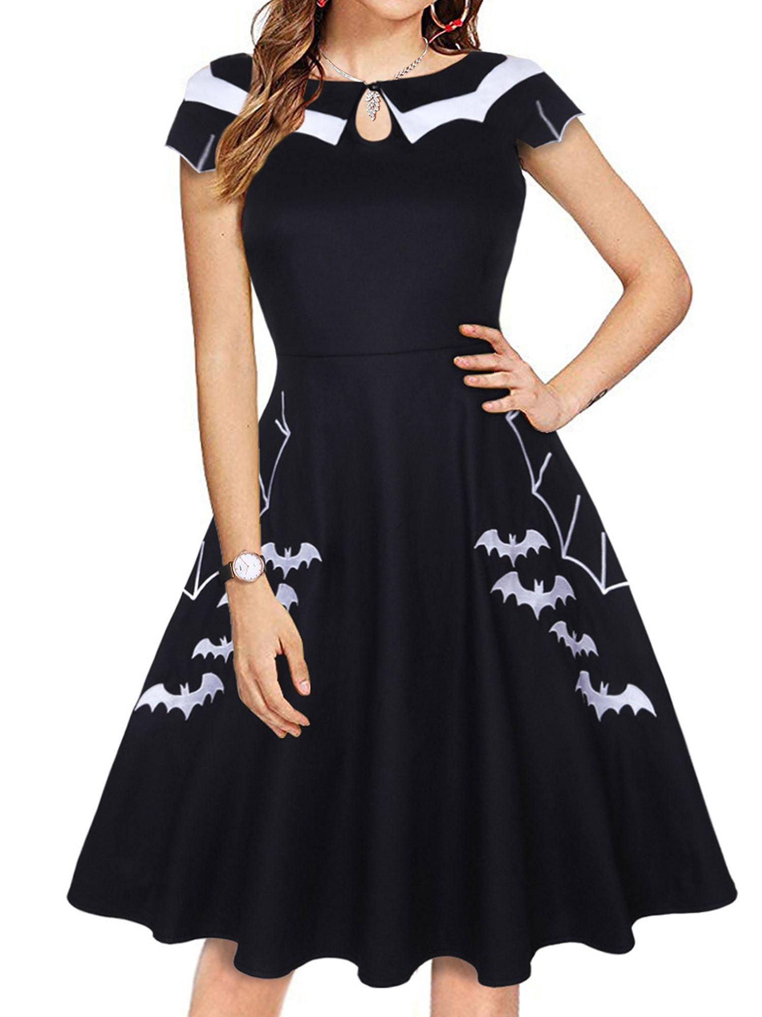 Free 2 Day Shipping Buy Women Vintage Retro Short Sleeve Halloween Bat Print Skater Dress Evening Plus Size Party Dresses Swing Dress Pattern Vintage Dresses [ 2000 x 1500 Pixel ]