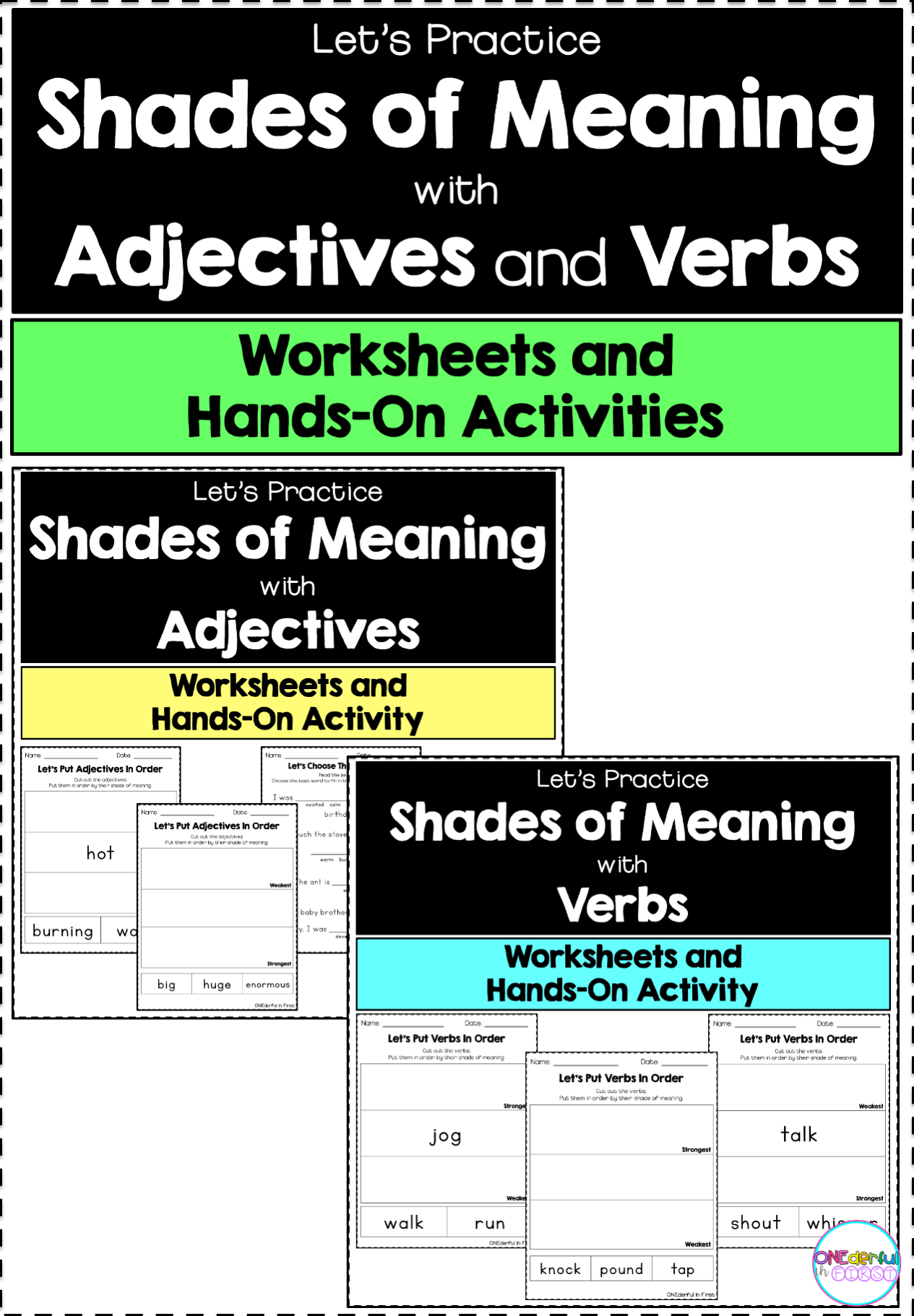 Shades Of Meaning Adjectives And Verbs