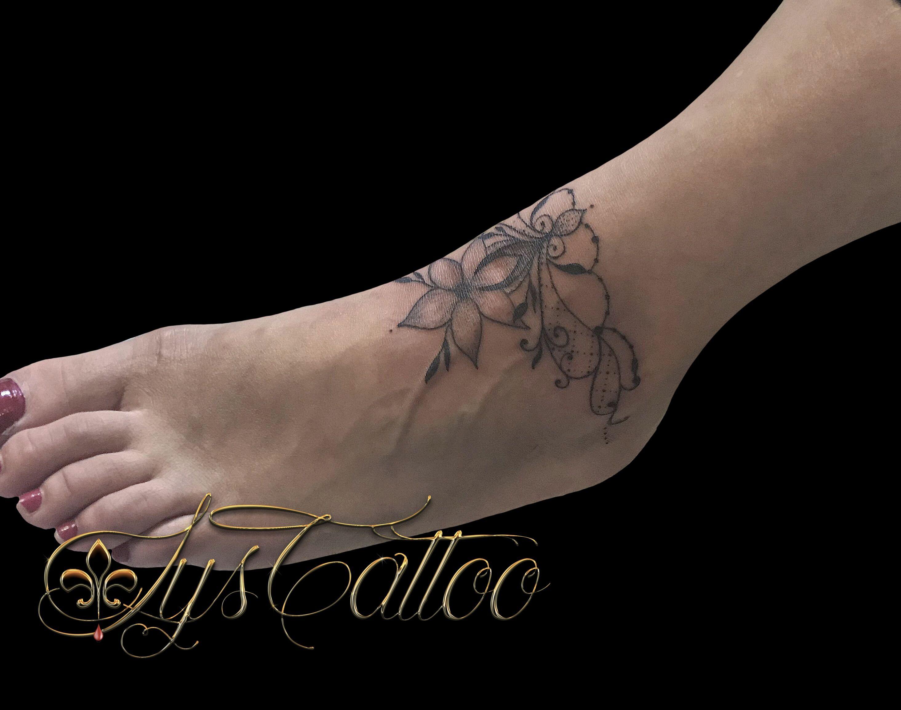 Tatouage Pied Cheville Femme Bijou De Cheville Bracelet Floral
