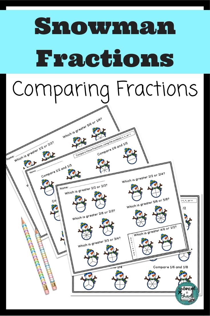 Fractions - Third Grade Math - Snowman Winter Math Fractions   Math  fractions [ 1102 x 735 Pixel ]
