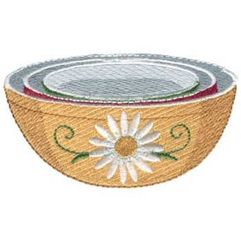 Dakota Collectibles Embroidery Design: Daisy Nesting Bowls 2.05 inches H x 3.59 inches W