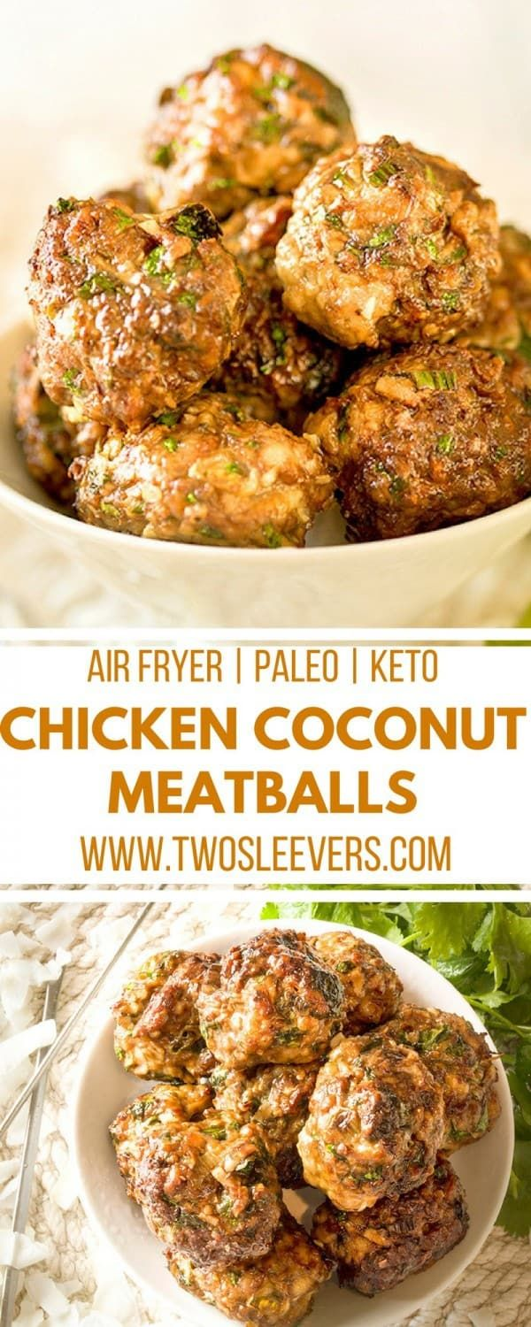 Low carb chicken meatballs with coconut flour make a quick
