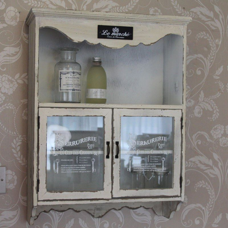 Awesome White Wall Cupboard Cabinet Distressed Painted Finish Bathroom Kitchen  Storage