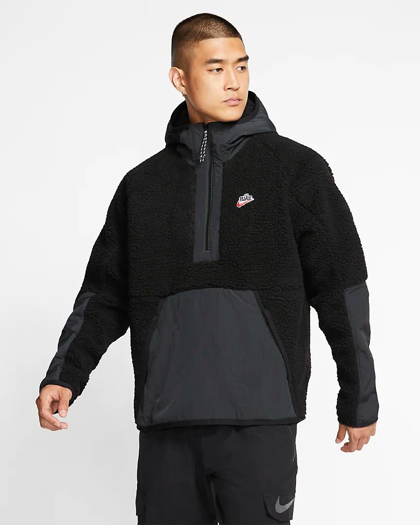 Sweat à capuche en sherpa à demi zip Nike Sportswear. Nike