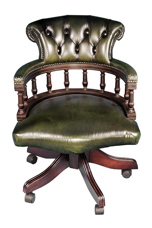 Vintage Captains Style Green Leather Office Chair