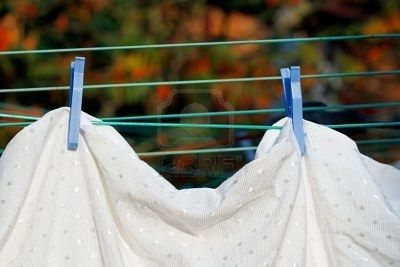 Drying bed linen in fresh