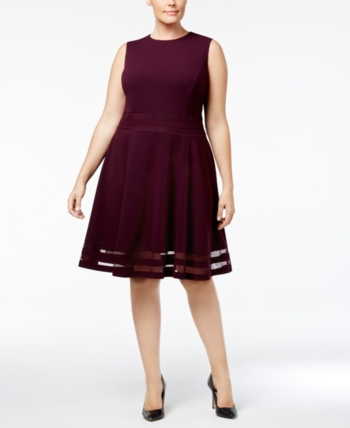 054fbfb758e Calvin Klein Plus Size Illusion-Trim Fit   Flare Dress - Blue 24W in ...