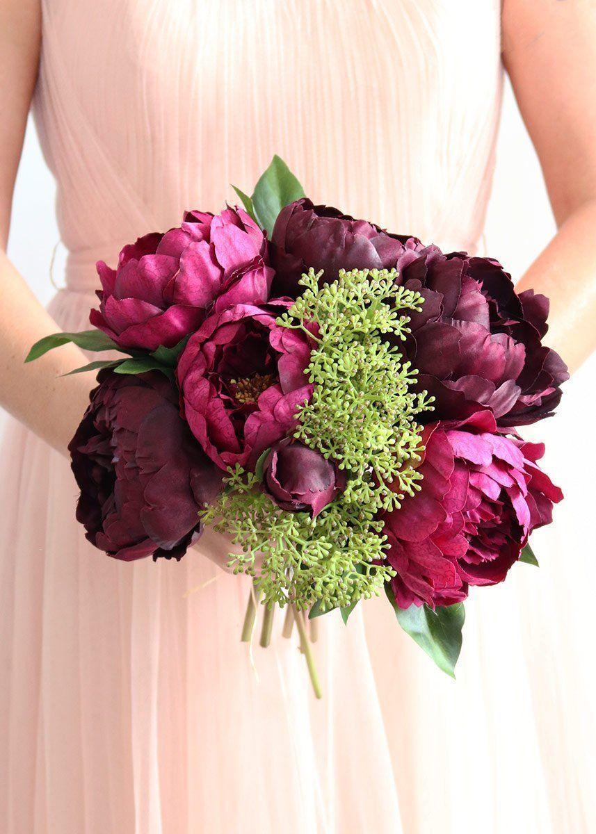 "Eggplant Plum Peony & Sedum Silk Fall Bouquet 12.5"" Tall"