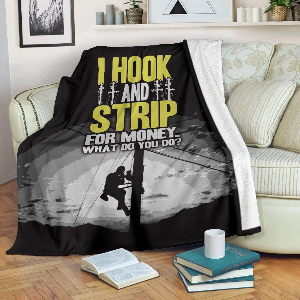 I Hook and Strip For Money CLA01111053F Sherpa Fleece Blanket #crochetformoney
