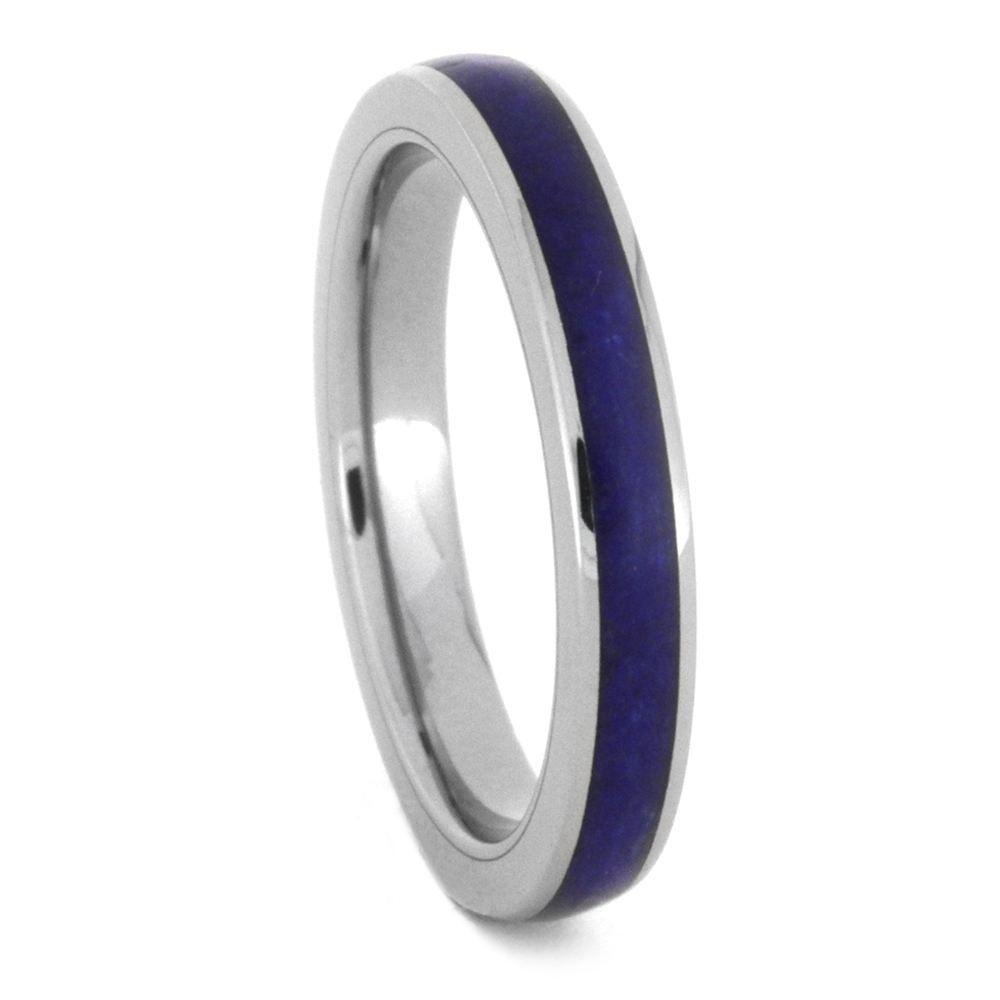 Lapis Lazuli Wedding Band For Women Titanium Ring 3432