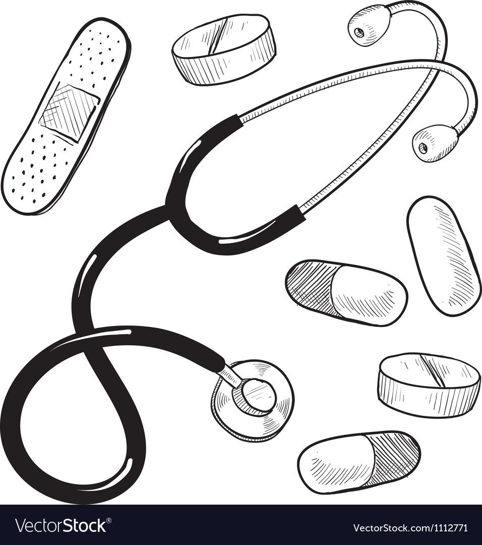 Doodle Doctor Medical Stethescope Pills Bandaid Vector Image On