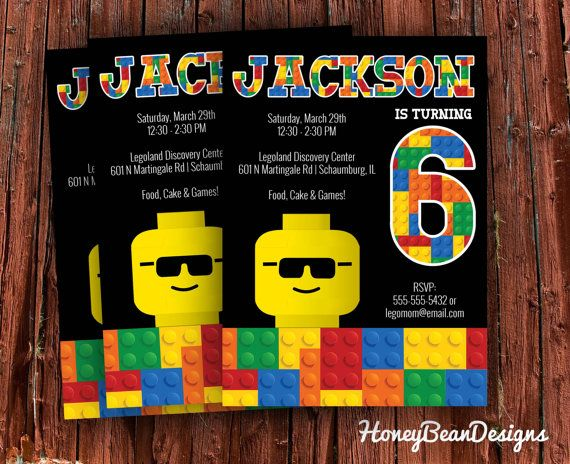 PRINTABLE Lego Birthday Invitation Legoman Legoland Movie Legos Double