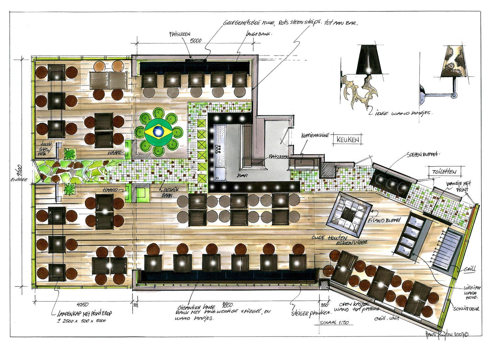 Pin de mz za en interiores pinterest cafeteria for Planos para restaurantes