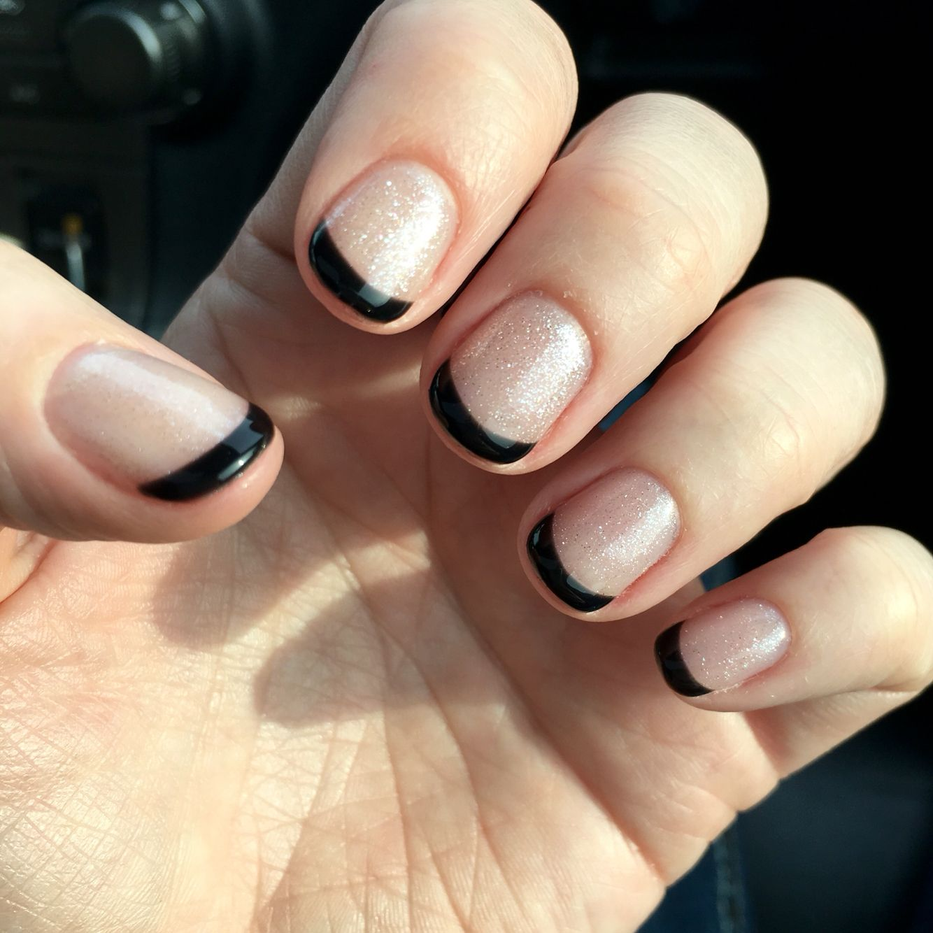 Black Tip French Manicure With Sparkles On Short Nails Orange Nail Designs Simple Nails Nails