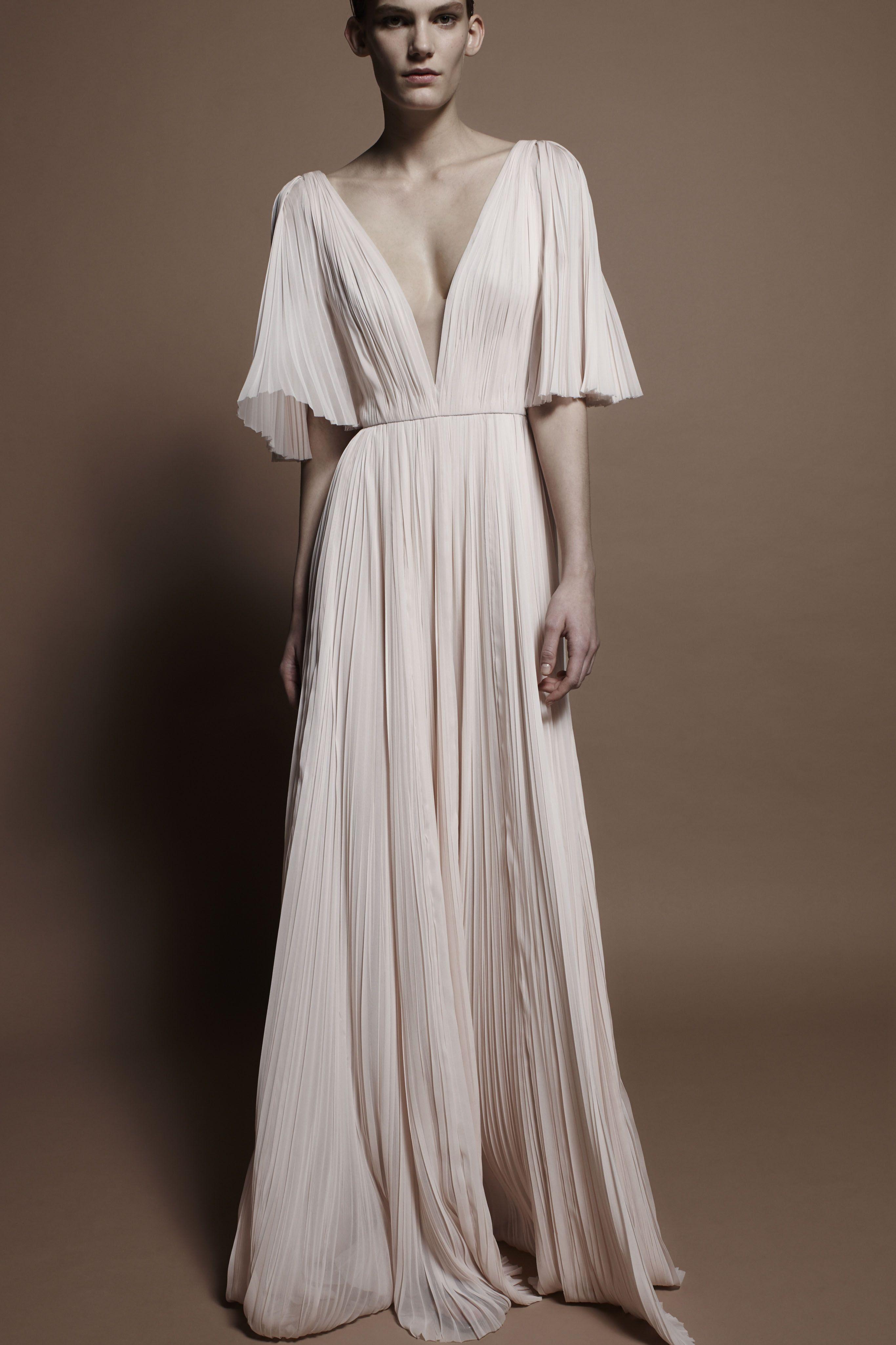 flowy blush wedding dress